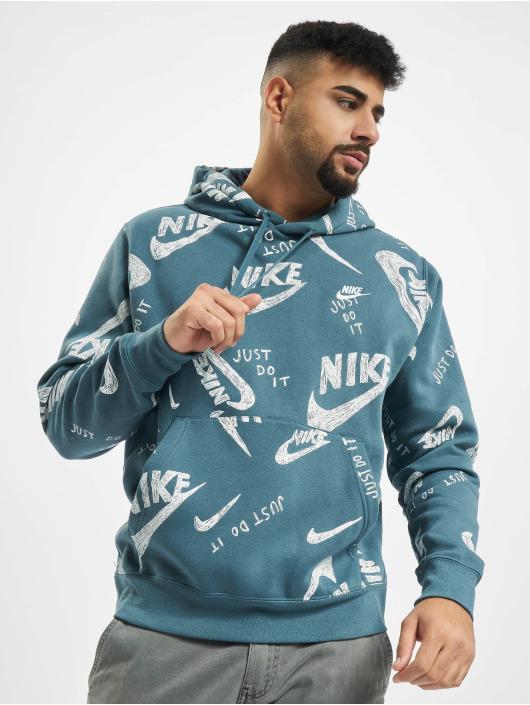 Nike Bluzy z kapturem Club AOP 1 zielony