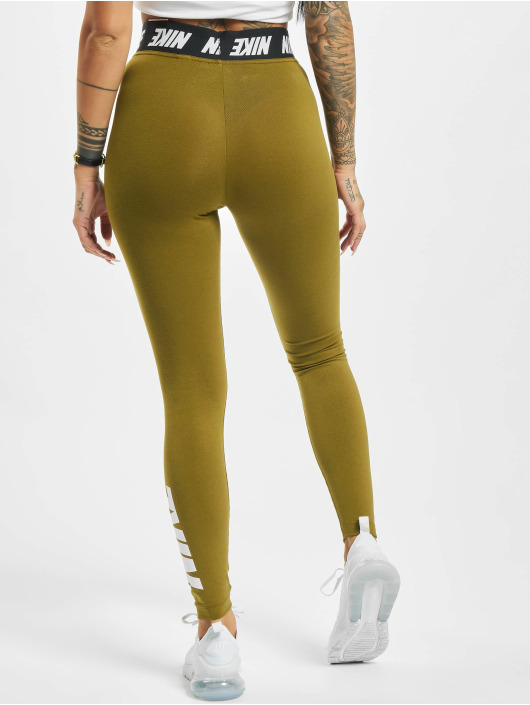 Nike Leggings/Treggings Club HR oliwkowy