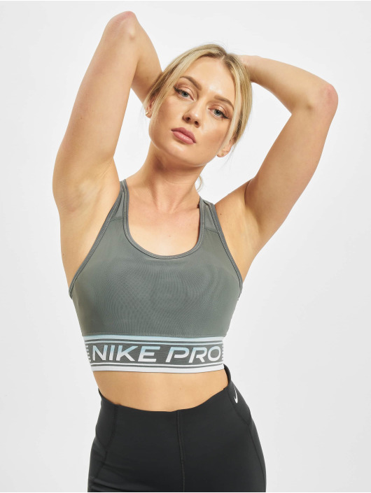 Nike Performance Športová podprsenka Swoosh Mesh šedá