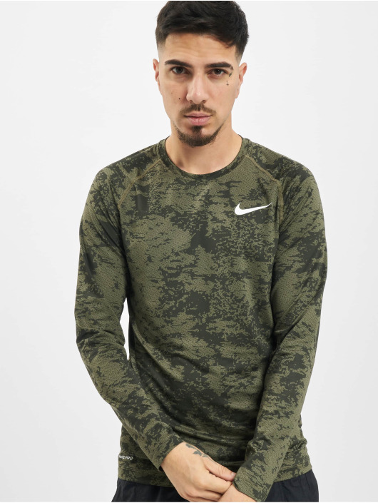 Nike Performance Langermet Top Slim Aop oliven