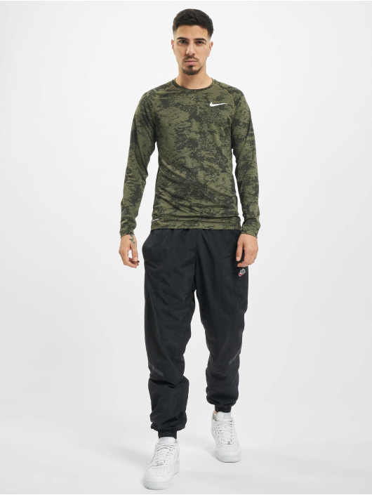 Nike Performance T-Shirt manches longues Top Slim Aop olive