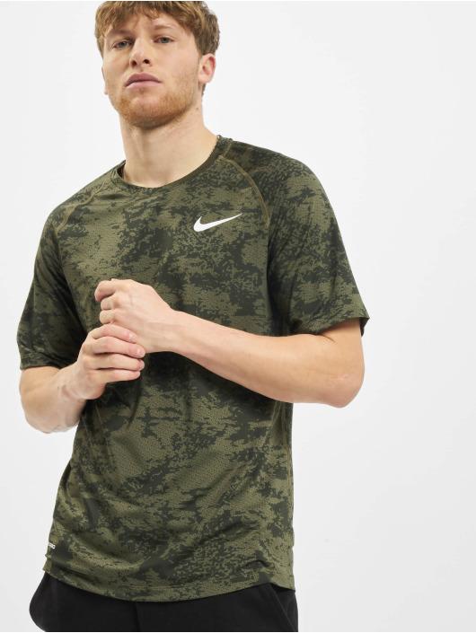 Nike Performance T-Shirty Top Slim Aop oliwkowy