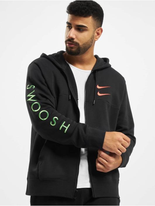 Nike Swoosh Full Zip Hoodie BlackEmber Glow
