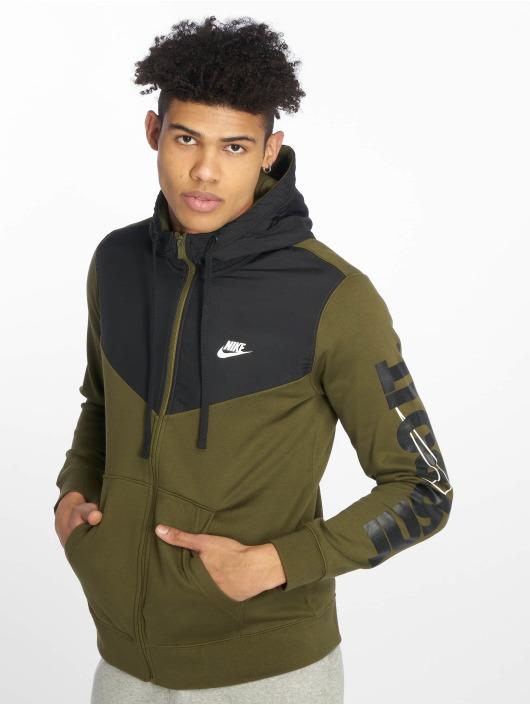 Nike Sweat capuche zippé Colorblock olive