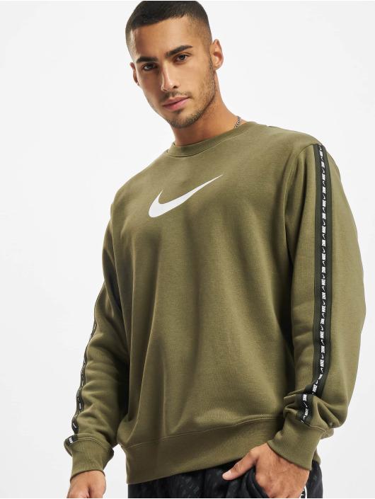 Nike Swetry Repeat Crew oliwkowy