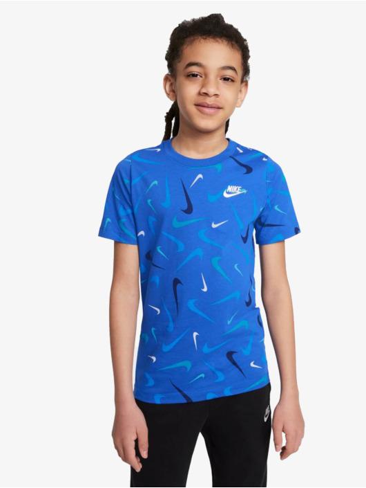 Nike T-Shirt Swoosh Aop bleu