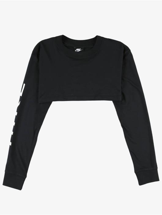 Nike Top LS Crop Pythn schwarz