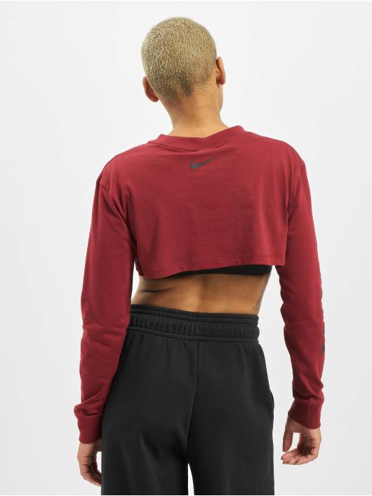 Nike Tops LS Crop Pythn czerwony
