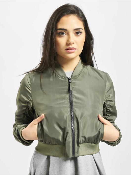 Noisy May Куртка-бомбардир nmSadie Crop оливковый