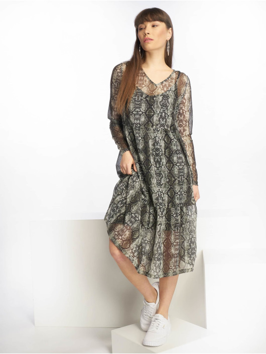 Noisy May Dress nmSam Snake L/S Below Knee green