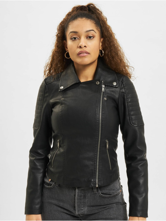Noisy May Leather Jacket nmRebell black