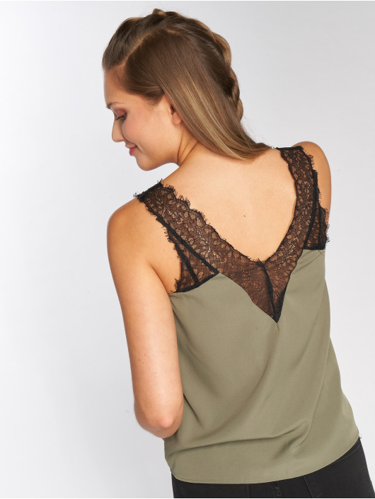 Noisy May top nmLindsay Lace Insert Top olijfgroen