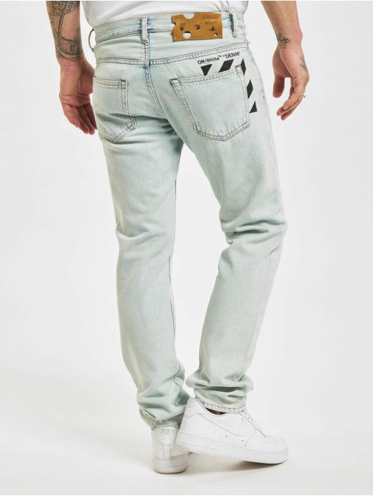 Off-White Slim Fit Jeans Diagonal Stripe modrá