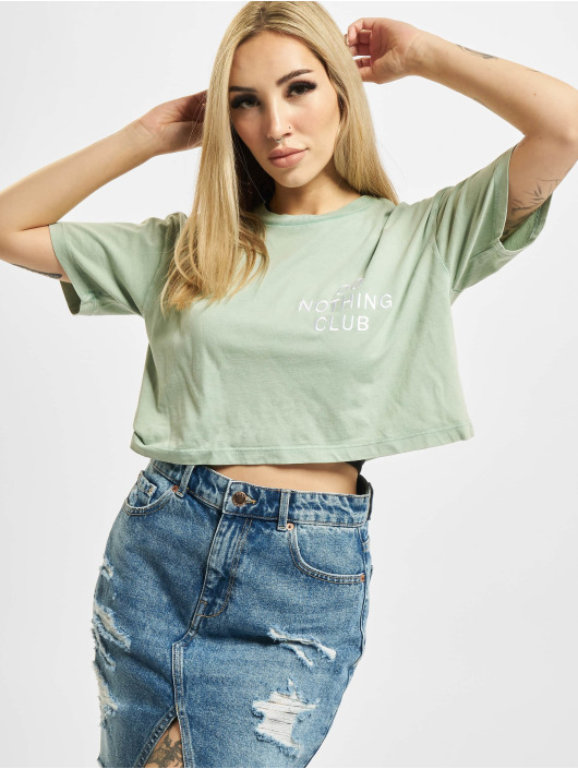 On Vacation T-Shirt Cropped Do Nothing Club green