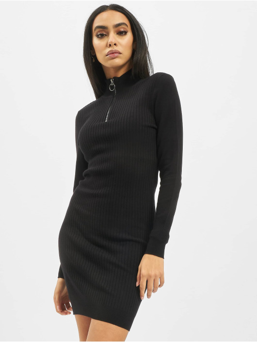 Only Šaty onlTyra Highneck Zip Knit èierna