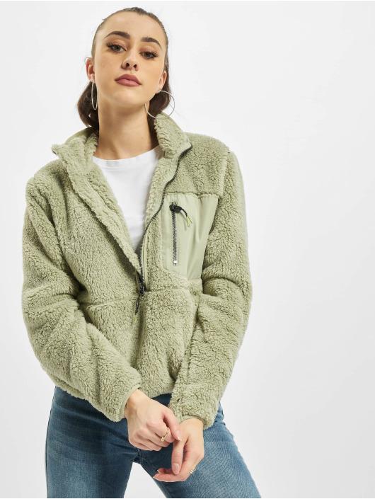 Only Пуловер onlDalina 1/2 Zip Teddy зеленый