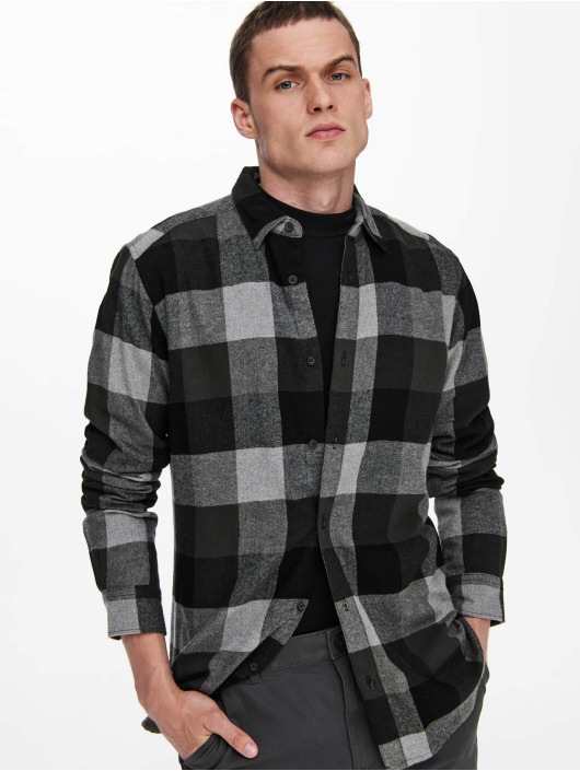 Only & Sons Chemise Onsgudmund Check gris