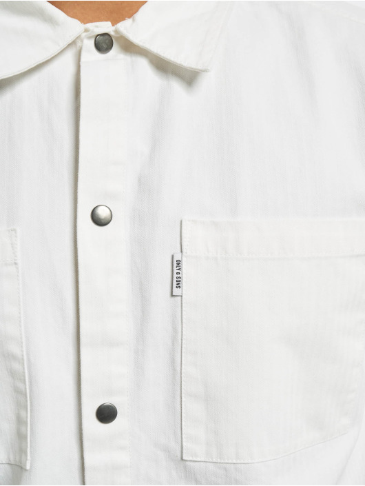 Only & Sons Košele onsCris Herringbone Twill Overshirt biela