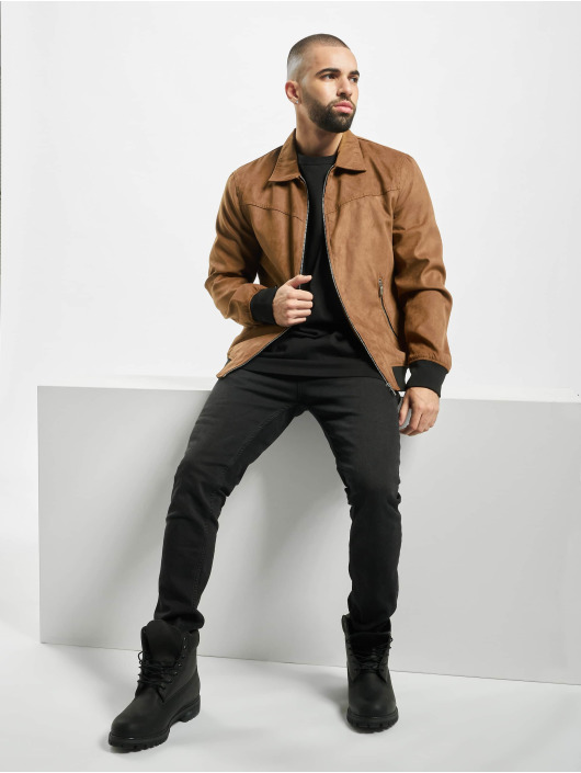 Only & Sons Leather Jacket onsLebron brown