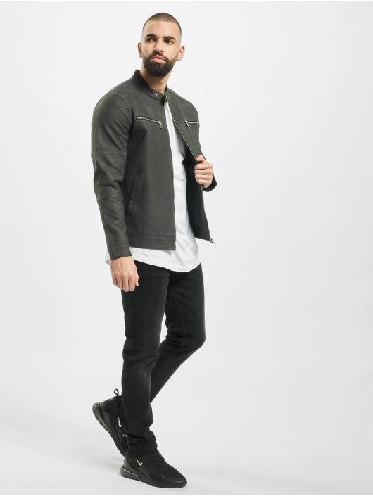Only & Sons Leather Jacket onsFavour Jupiter Pu grey