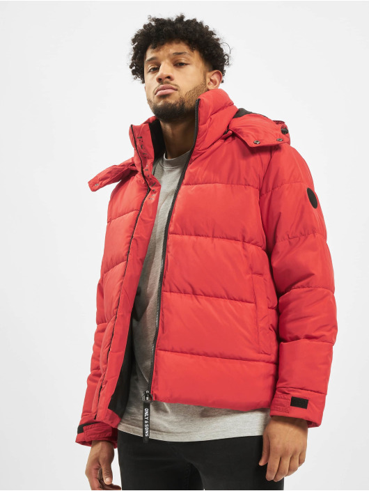 Only & Sons Puffer Jacket onsGrant red