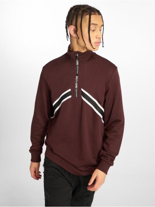Only & Sons Pullover onsWyatt Half Zip red