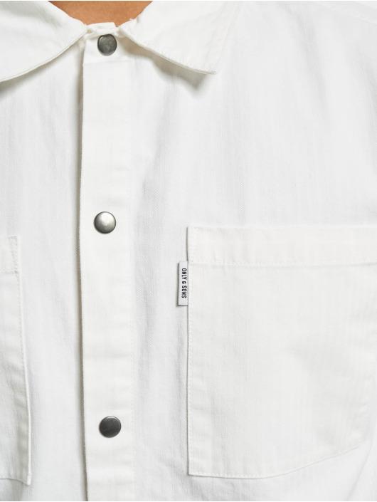 Only & Sons Shirt onsCris Herringbone Twill Overshirt white
