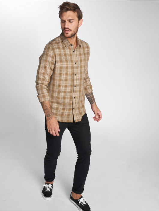 Only & Sons Skjorter onsOles Brushed Flannel Check brun