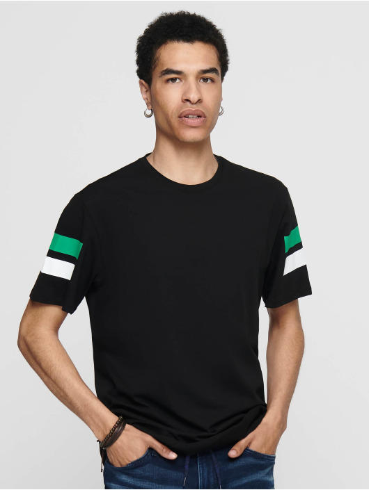 Only & Sons T-Shirt onsStripey Longy black