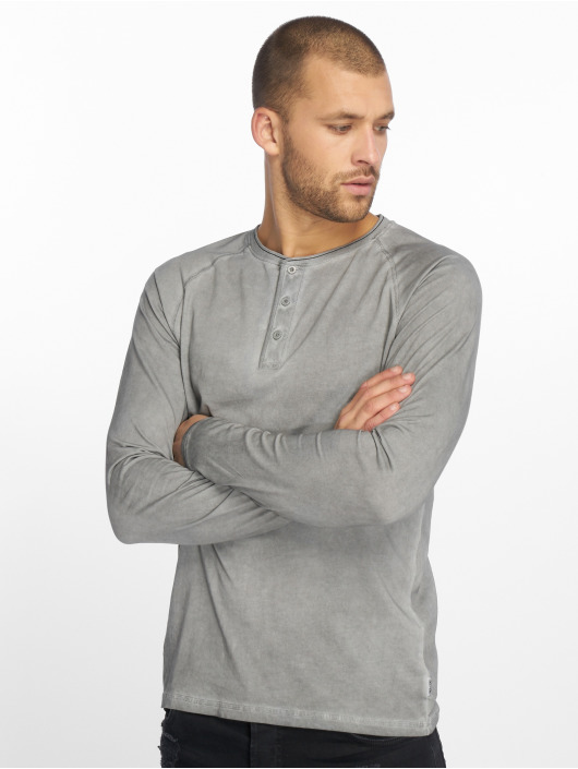 Only & Sons T-Shirt manches longues onsDan Oil Wash Granddad gris