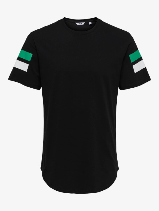 Only & Sons T-Shirt onsStripey Longy noir