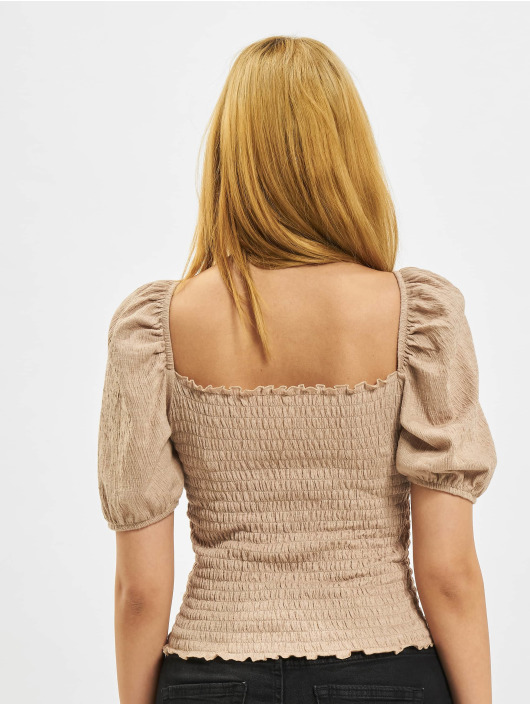 Only Blouse/Tunic Nalena Puff Smock Top brown