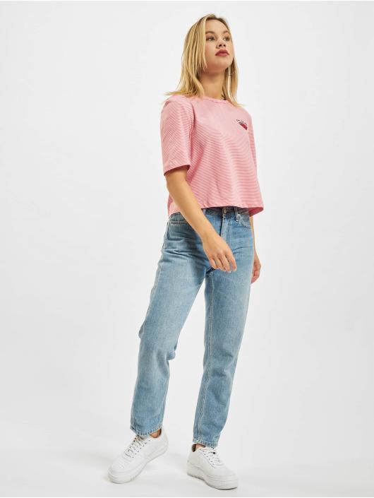 Only Camiseta Onlfruity Life Stripe JRS fucsia