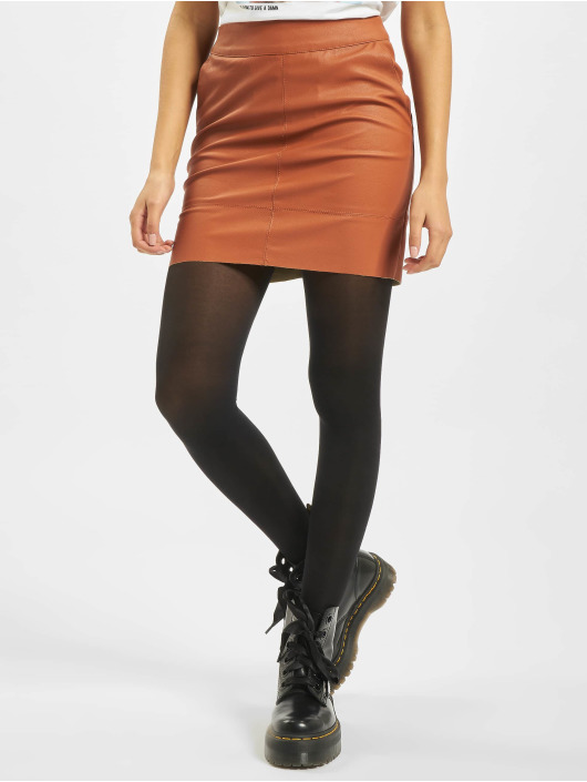 Only Jupe onlBase Faux Leather Noos brun