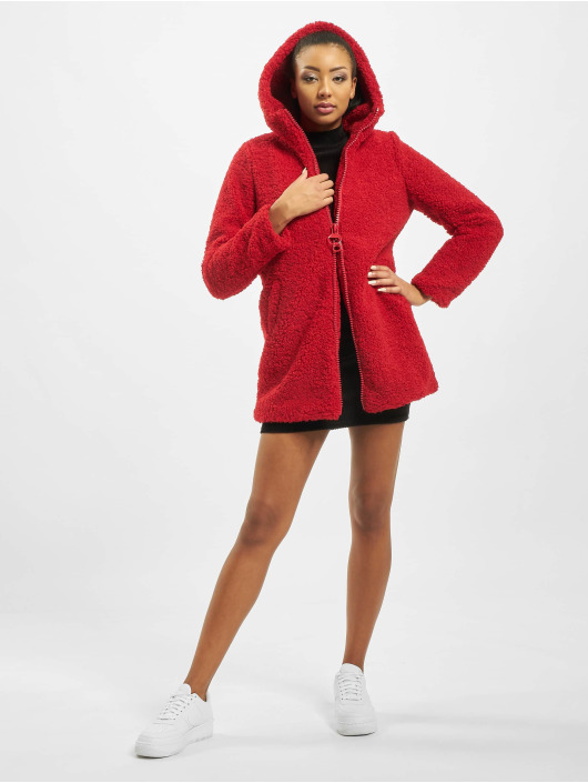 Only Kåper onlTerry Curly Fur Hood red