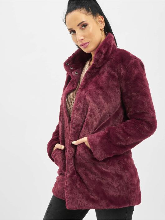 Only Kabáty onlVida Faux Fur èervená