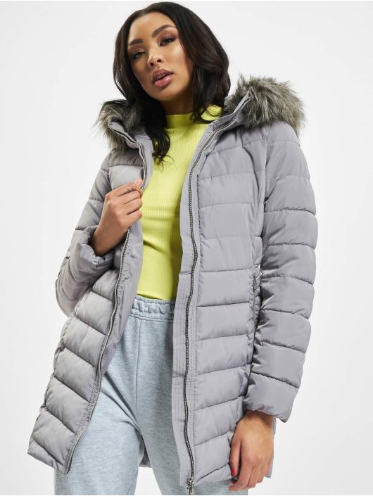 Only Kabáty onlEllan Quilted Hood Fur šedá