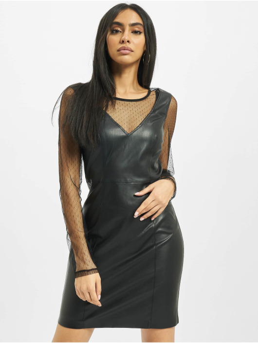 Only Kleid onlBritt Faux Leather Lace schwarz
