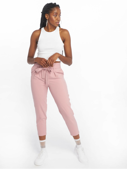 Only Látkové kalhoty onlNicole Paperbag růžový