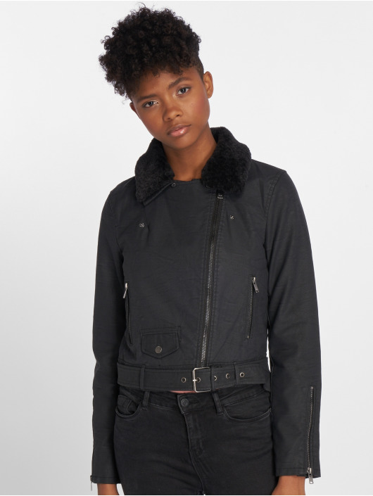 Only Leather Jacket onlCarol Fur Faux black