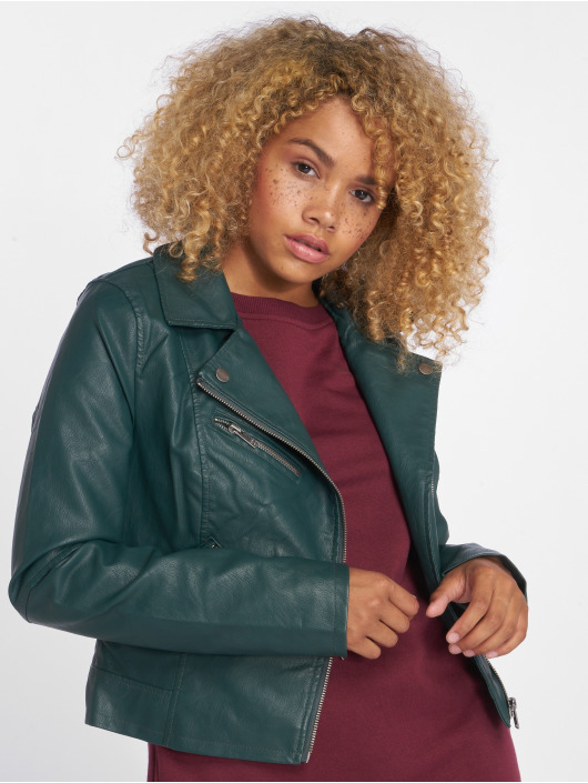 Only Leather Jacket onlVigga Faux Leather Biker green