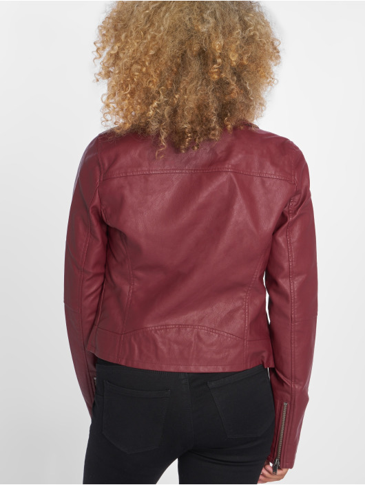 Only Leather Jacket onlVigga red