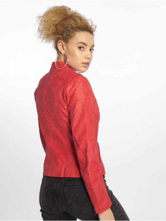 Only Leather Jacket onlAva Noos Faux Leather red
