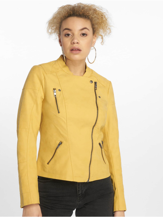 Only Leather Jacket onlAva Faux yellow