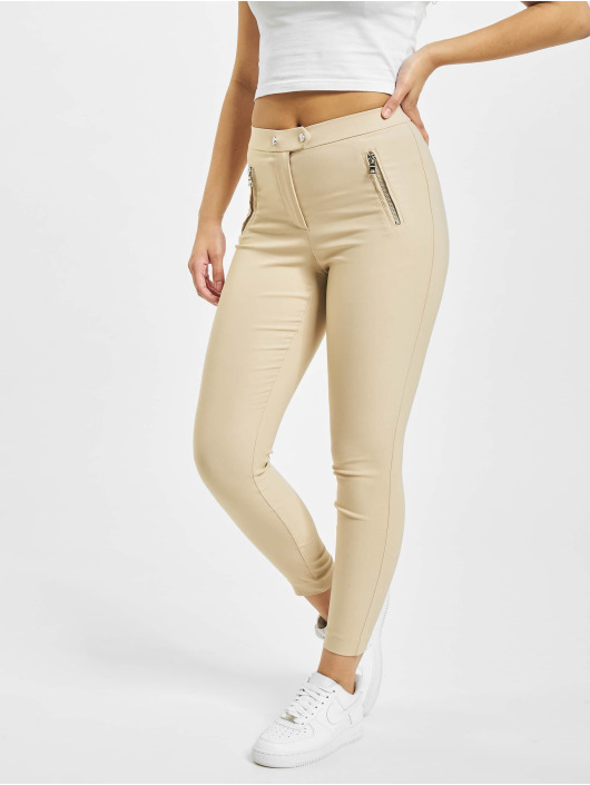 Only Leggings/Treggings onlJamila High Waist Zip Ankle brazowy