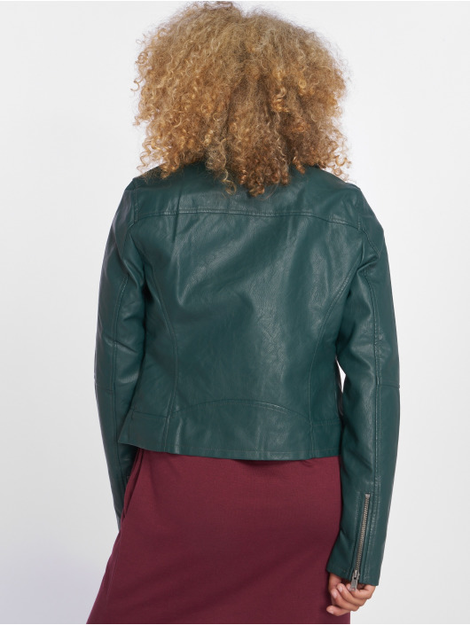 Only leren jas onlVigga Faux Leather Biker groen