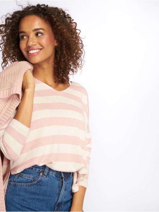 Only Maglia onlMaye LS Stripe V-Neck rosa chiaro