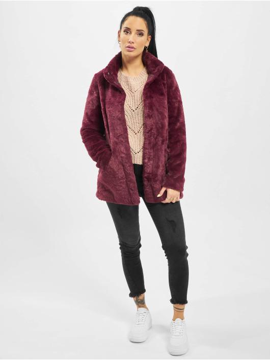 Only Manteau onlVida Faux Fur rouge