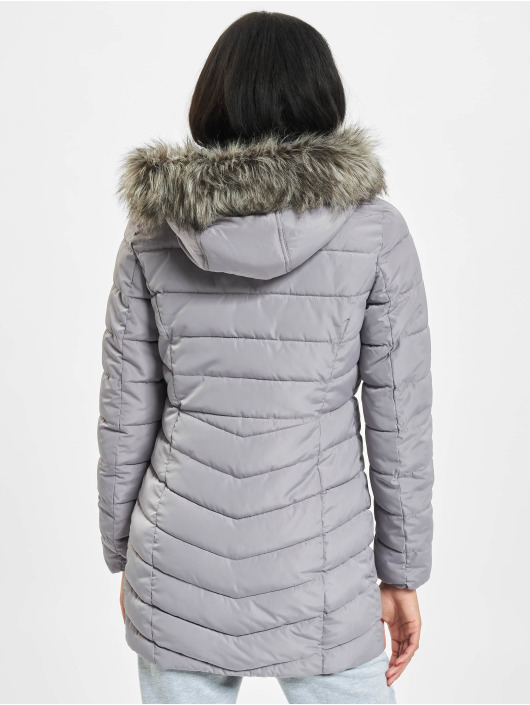 Only Mantel onlEllan Quilted Hood Fur grau