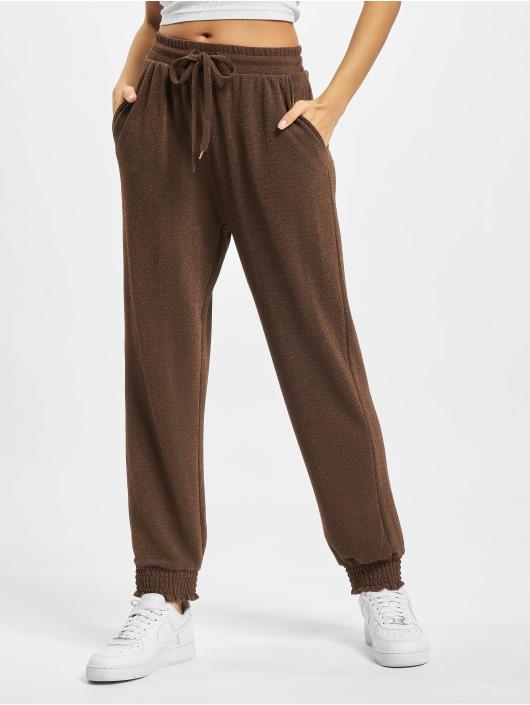Only Pantalón deportivo Glitter marrón